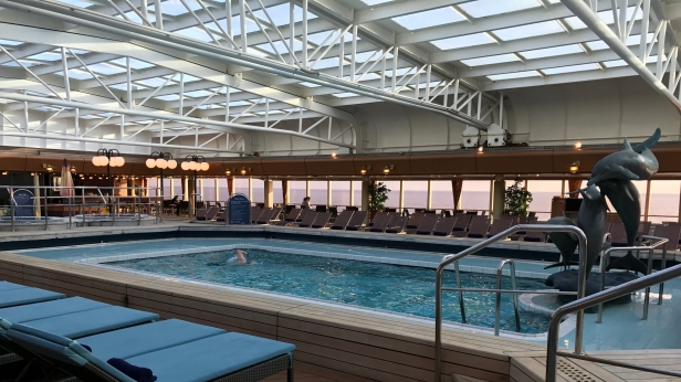 My dad, lap swimming on the Lido deck