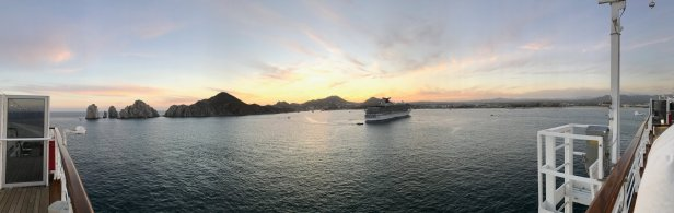 Panorama off the top deck, at dusk